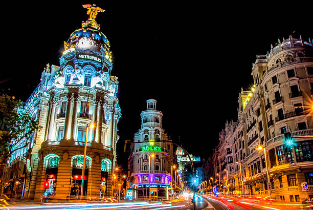 Night view of the street Grand Via in Madrid – Foto