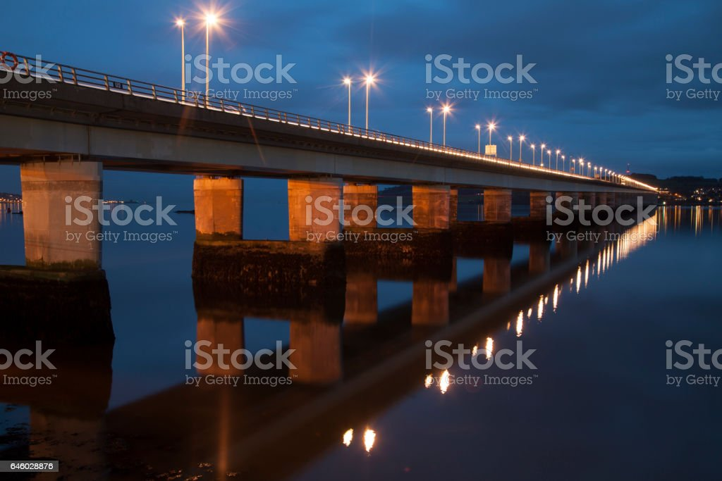 Night view of the Tay Road Bridge in Dundee, Scotland stock photo
