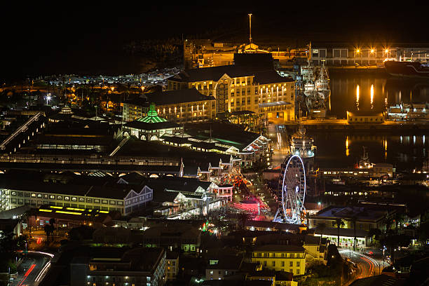 Night View of the Victoria and Albert Waterfront, Cape Town stock photo
