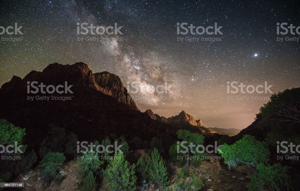 Night View of The Watchman Mountain Zion National Park Utah royalty-free stock photo