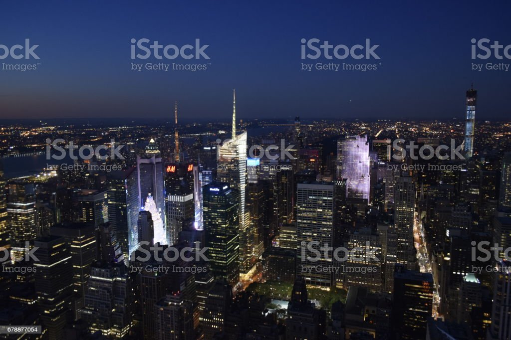 A Night View of Times Square from Empire State Building royalty-free stock photo