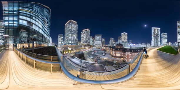 KITTE屋上庭園から見た東京駅の夜景 KITTE屋上庭園から見た東京駅の夜景 360 degree view stock pictures, royalty-free photos & images