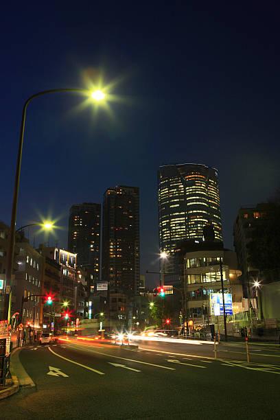 Night View of Torii-sakasita crossing and Roppongi stock photo