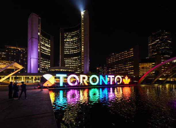 Night view of Toronto City Hall, or New City Hall in Toronto, Ontario, Canada