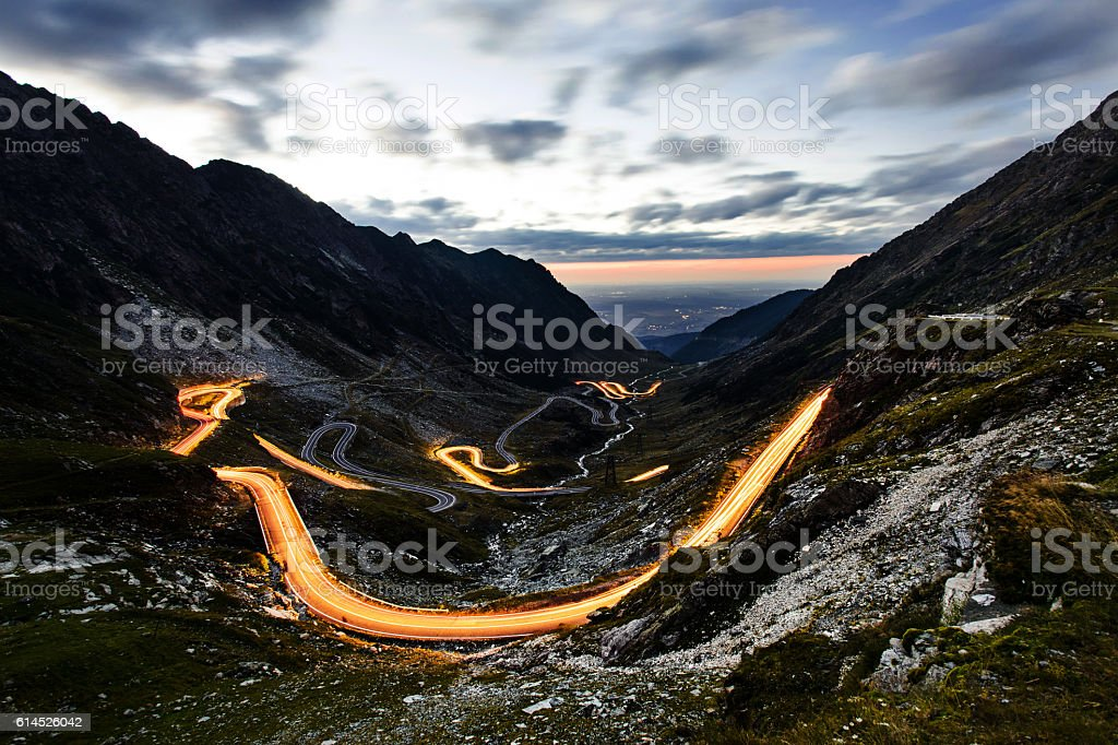 Night view of Transfagarasan serpentine in romanian Carpathians, stock photo
