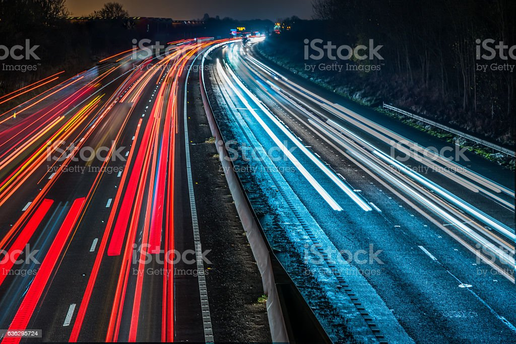 Night View of UK Motorway Highway - foto de acervo