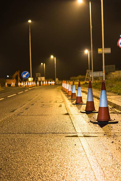 Night View of UK Motorway Highway Roadworks - Photo
