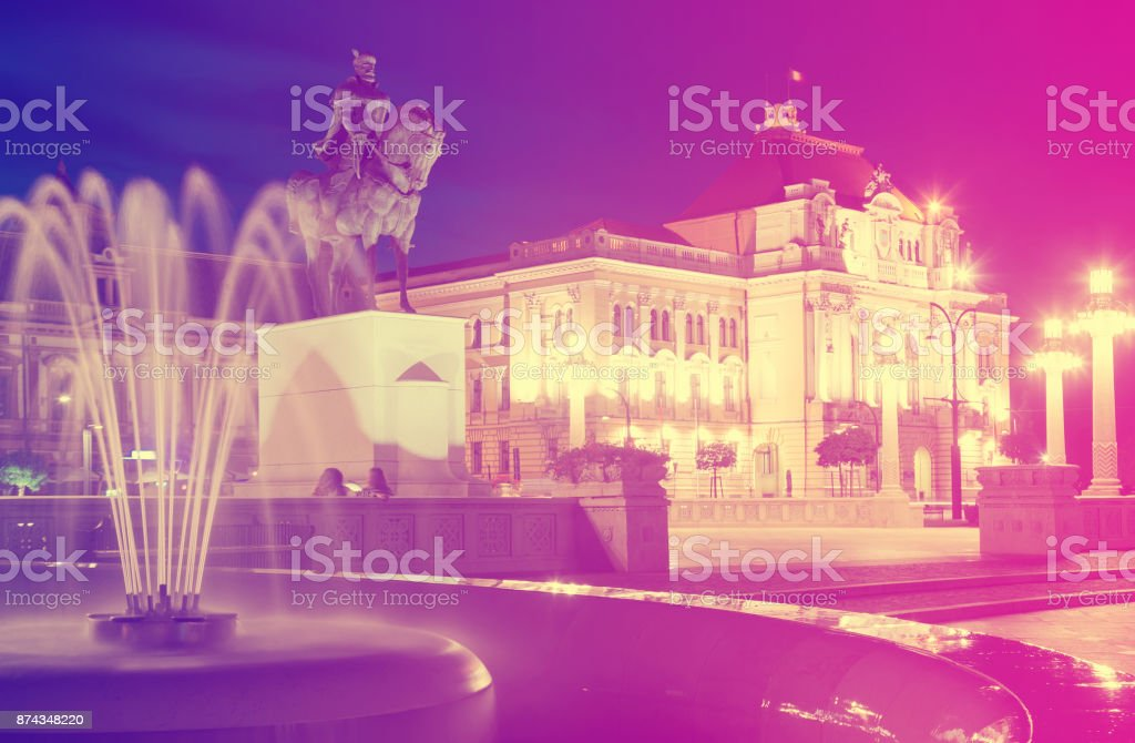 Night view of Union Square in Oradea stock photo
