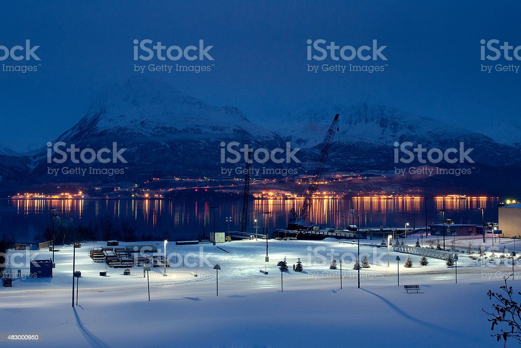 Night view of Valdez Alaska stock photo
