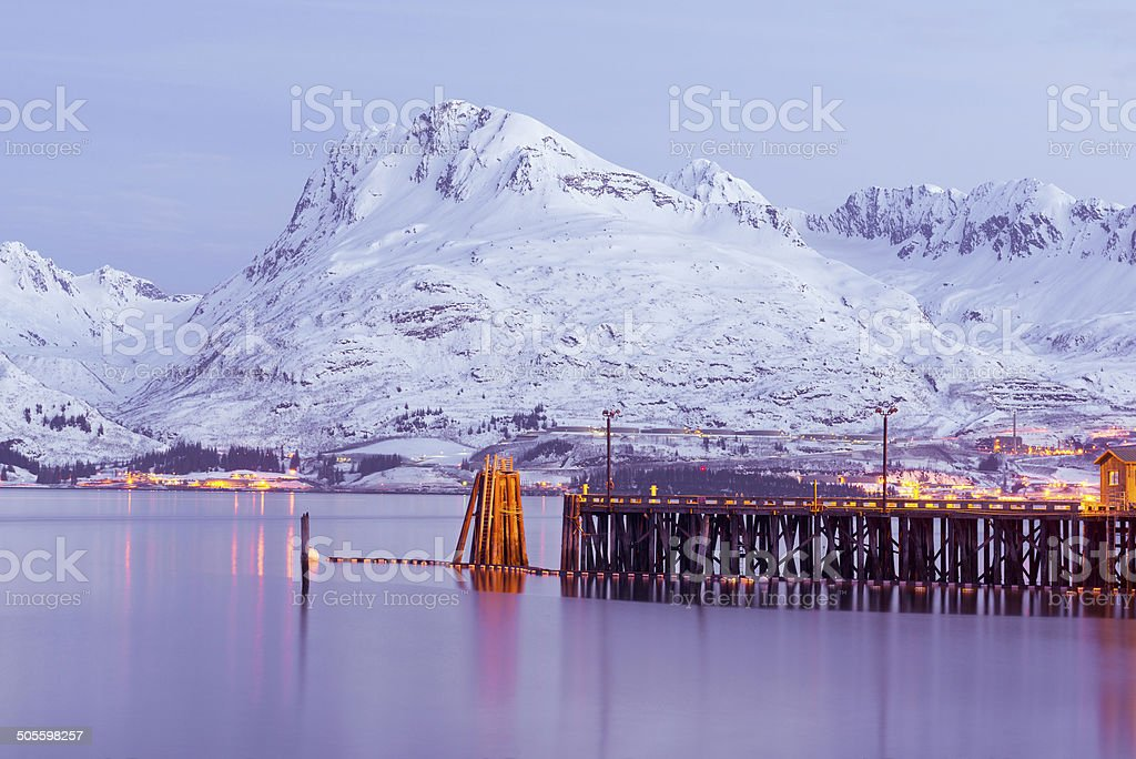 Night view of Valdez pier stock photo
