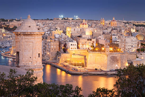 Night view of Valletta, Malta stock photo