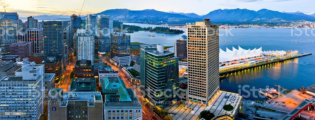 Night view of Vancouver stock photo