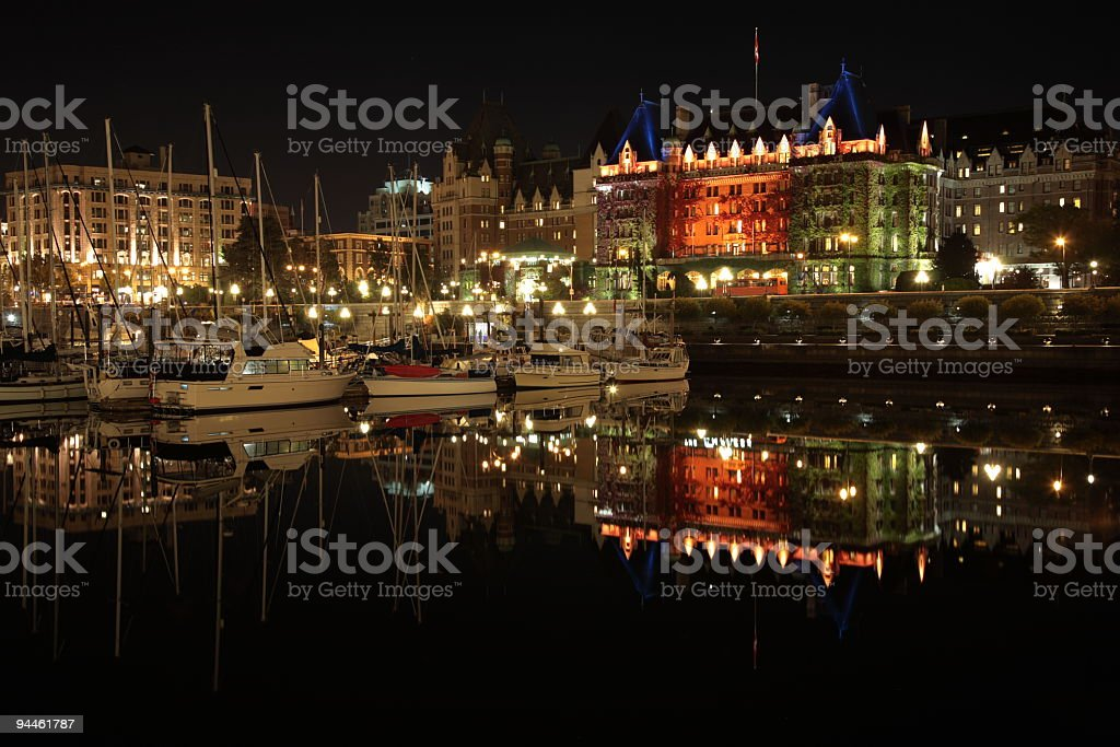 Night view of Victoria Harbour royalty-free stock photo