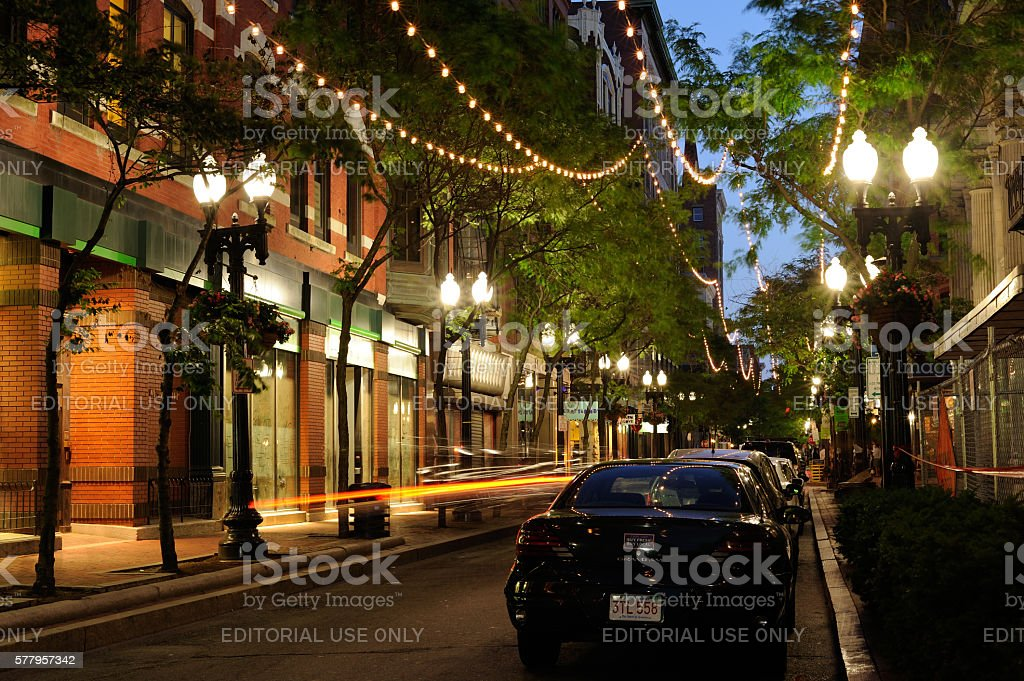 Night View of Westminster Street in Providence stock photo