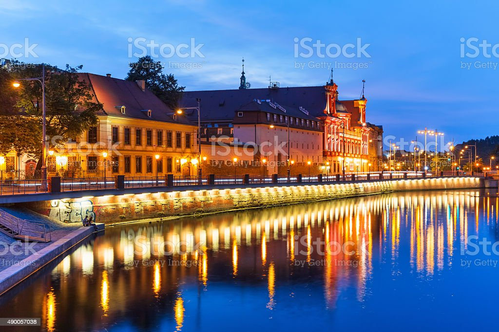 Night view of Wroclaw, Poland stock photo