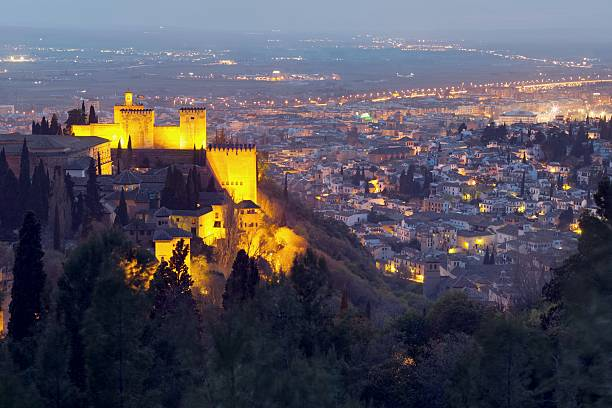 Night view on Alhambra Night view on Granada/ Spain. The Alhambra is visible on the left side. palace of charles v stock pictures, royalty-free photos & images