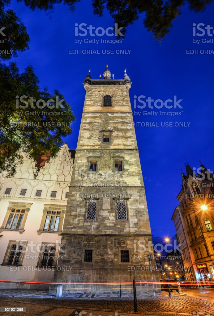Night view on Ancient New Town Hall Tower and night lights,  Prague, Czech Republic stock photo
