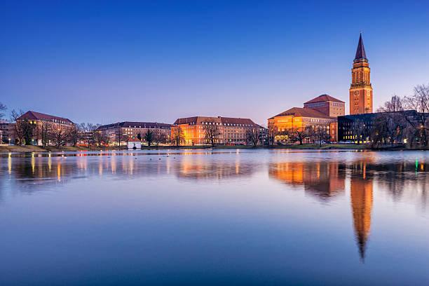 Night view on Kiel, Schleswig-Holstein stock photo