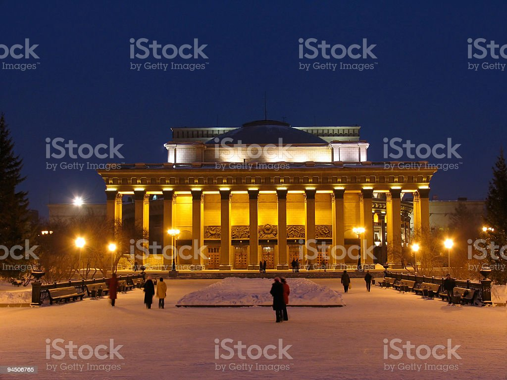 Night view on Novosibirsk Opera and Ballet Theate stock photo
