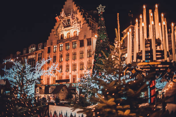 Night view on the city center with christmas decorations stock photo