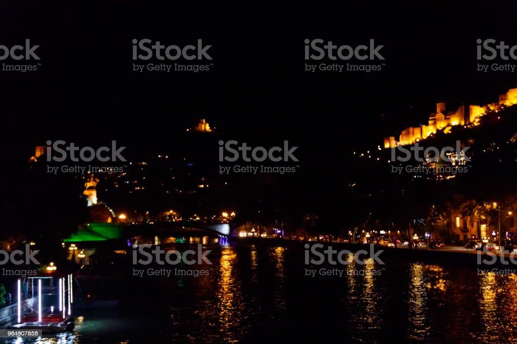 Night view on the Narikala fortress in Tbilisi, Georgia royalty-free stock photo
