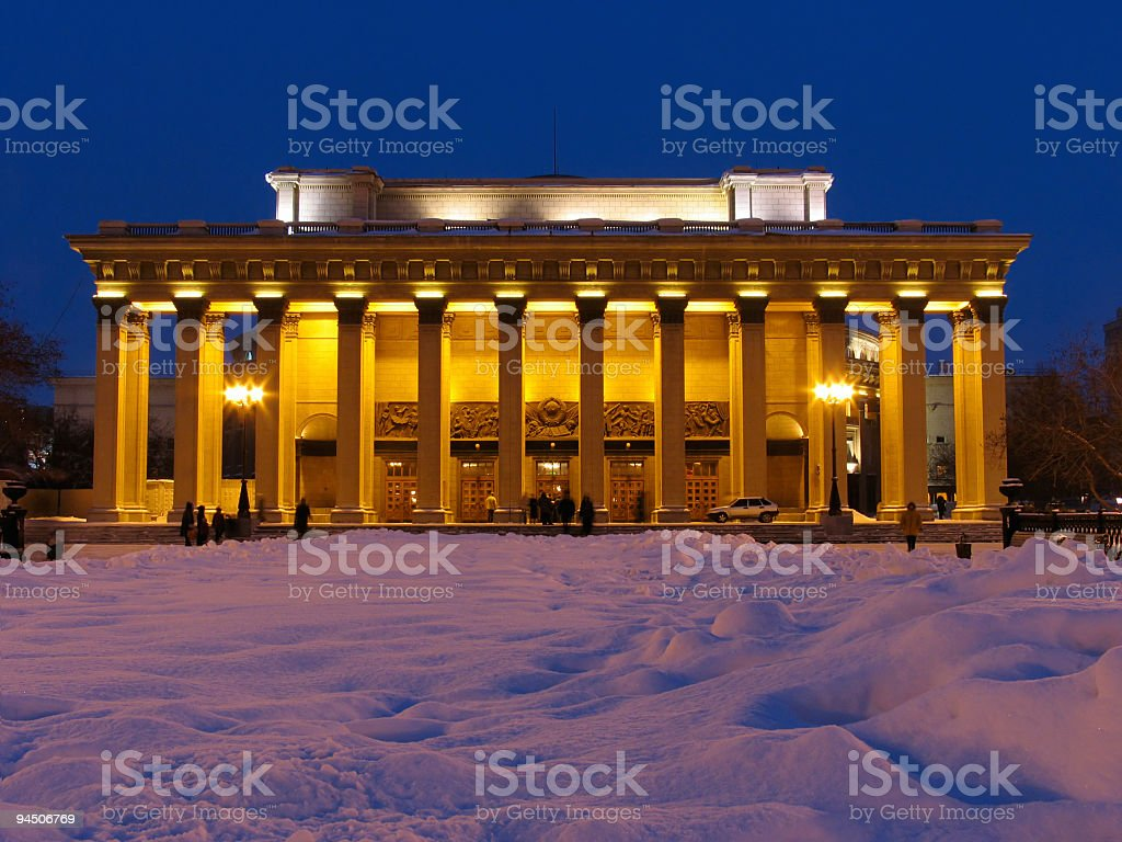 Night view on Theater building stock photo