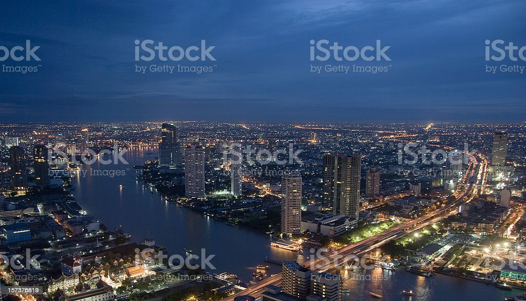 Night view over Bangkok royalty-free stock photo
