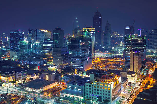 Night view over Bonifacio Global City, Taguig stock photo