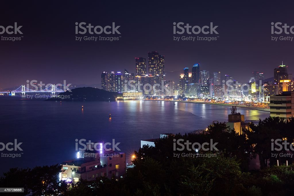 Night view over Busan city, South Korea. stock photo