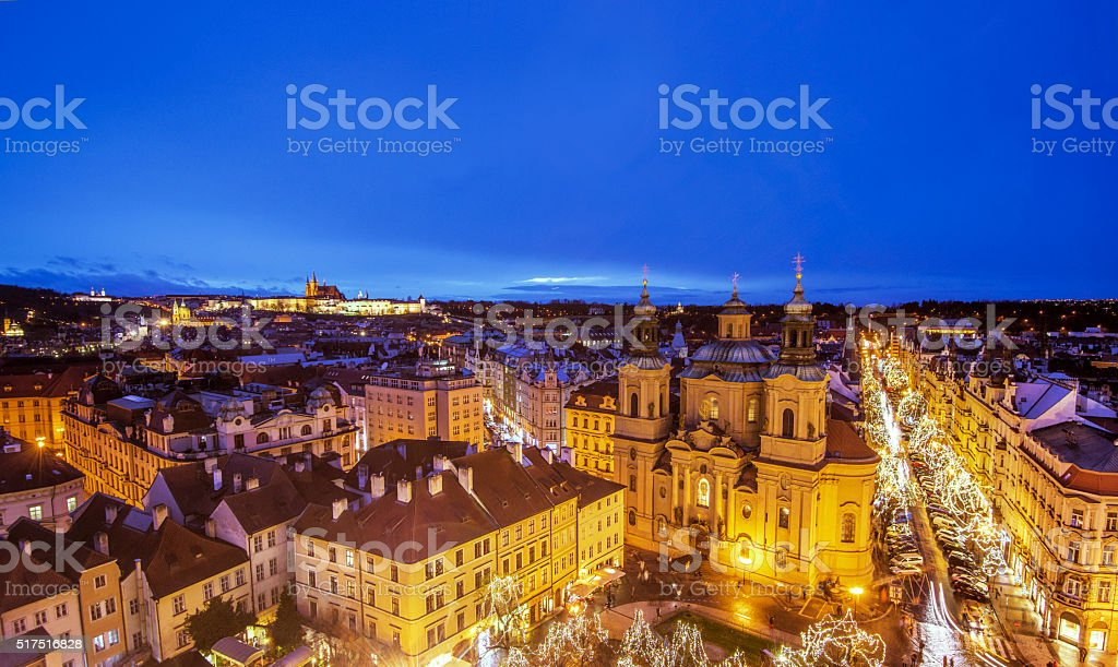 Night view over Prague in Advent stock photo