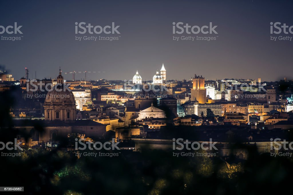 Night view over Rome taken from the top of Gianicolo hill. stock photo