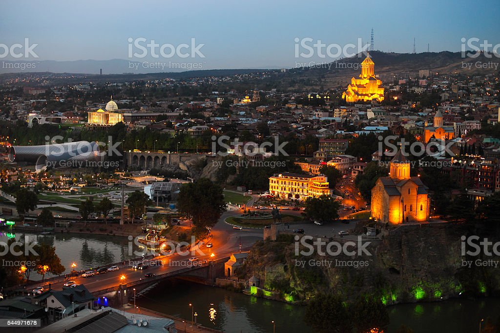 Night view to Old town of Tbilisi stock photo