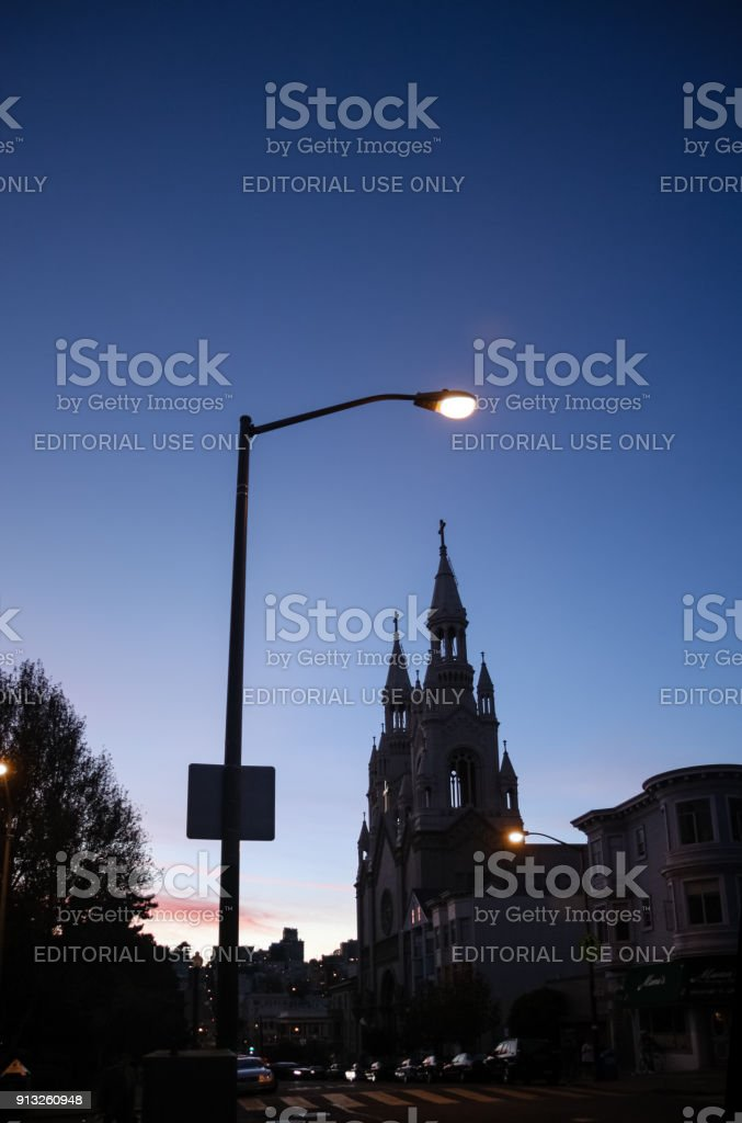 Night view to Saints Peter and Paul Church at Filbert street in San Francisco. stock photo