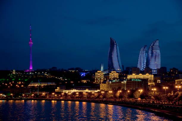 Night views of festive Baku.Overview of the boulevard stock photo