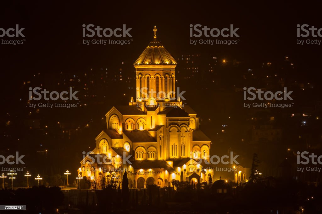 Night views of Tbilisi from the fortress. stock photo
