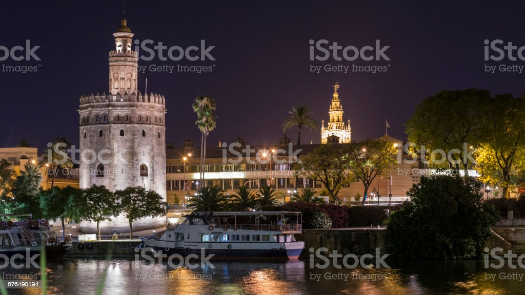night views of the city of seville stock photo
