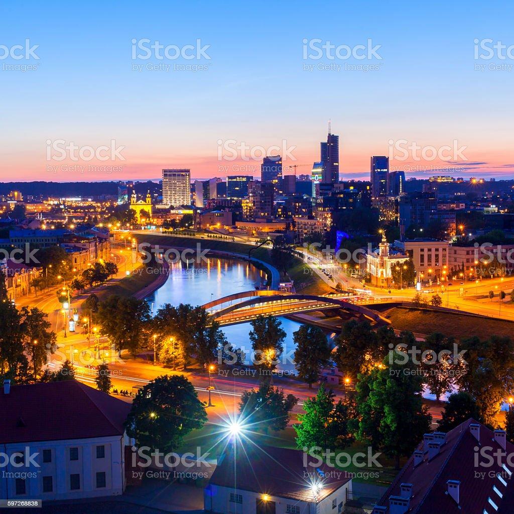 Night Vilnius, Lithuania. royalty-free stock photo