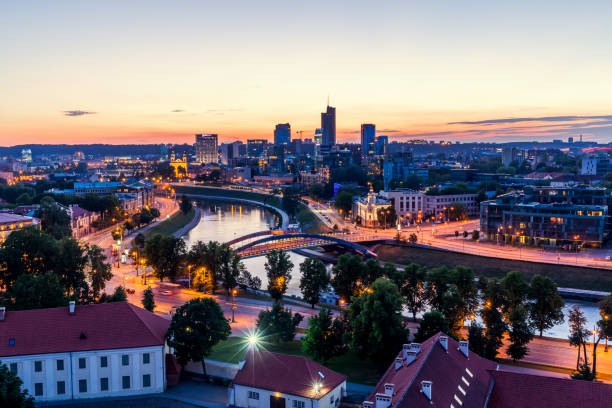 Night Vilnius, Lithuania stock photo