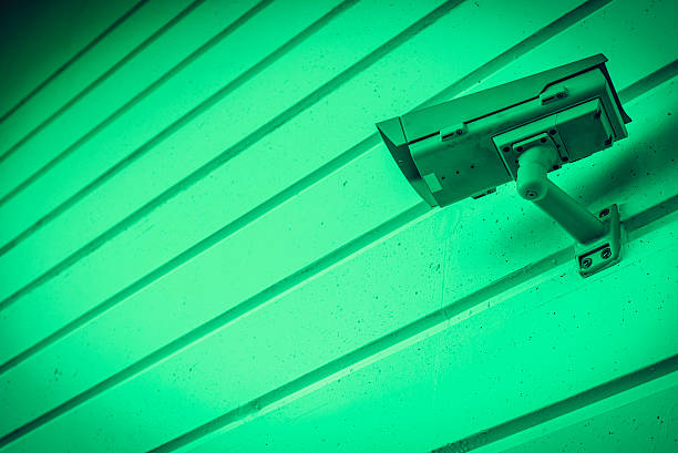 Night Vision Big Brother Security Camera on Green Background Wall stock photo