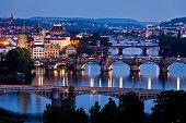 Night view to bridges on Vltava river, Prague, Czech Republic