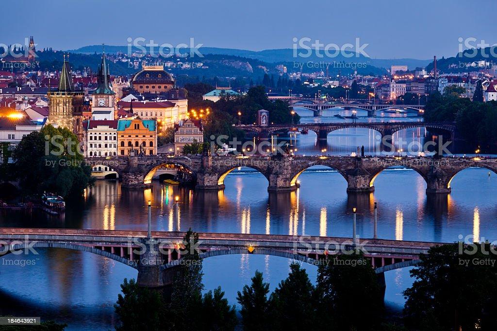 Night Vltava river view stock photo