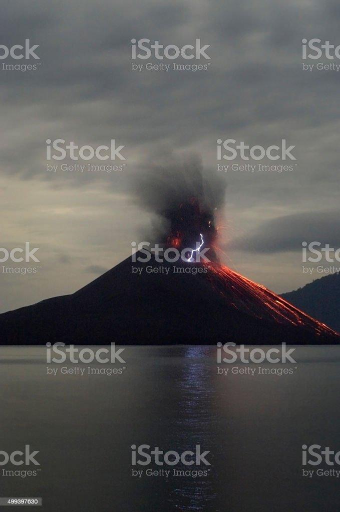 Night volcano eruption. Anak Krakatau, Indonesia stock photo
