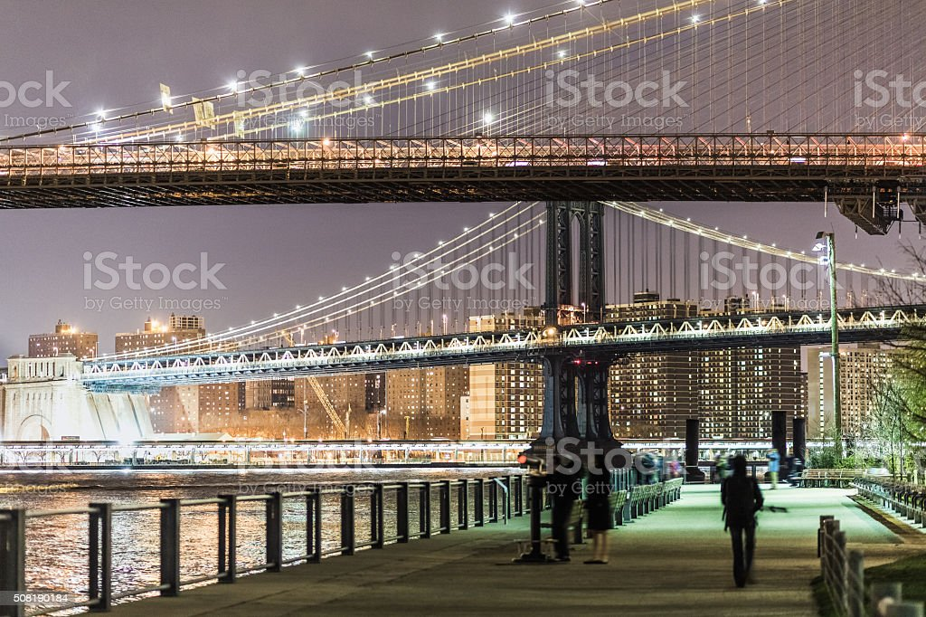 Night walk in Brooklyn Bridge Park, New York City stock photo