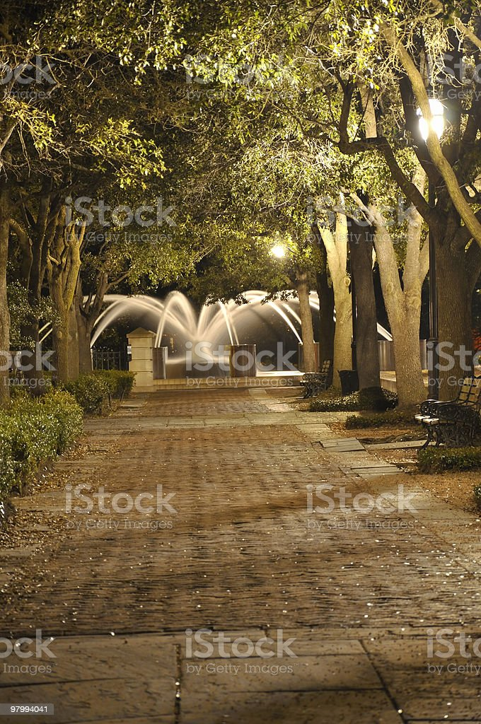 Night Walk to Fountain royalty-free stock photo