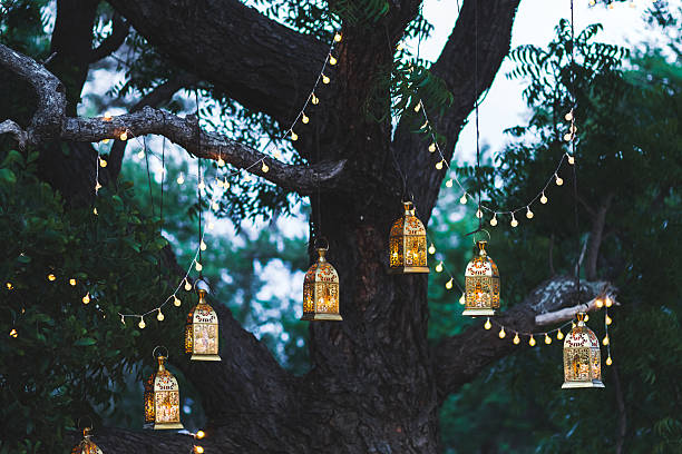 night wedding ceremony with lot of candles and vintage lamps - hochzeitsbaum stock-fotos und bilder