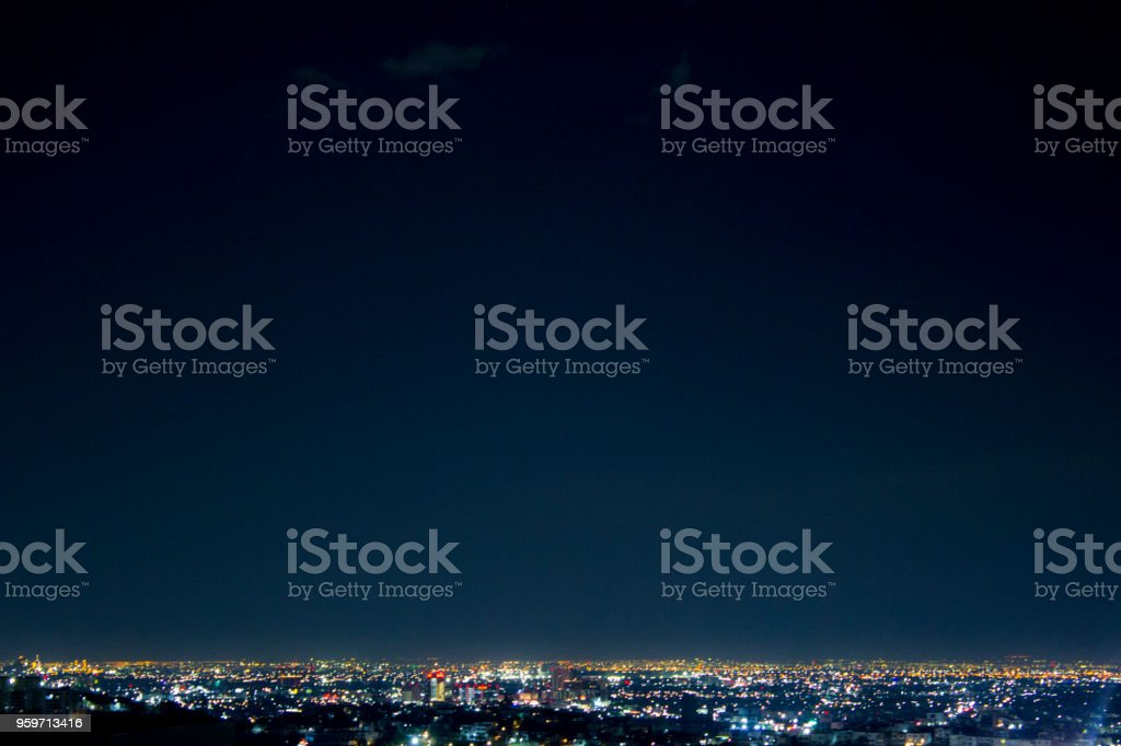 Night wide shot of Monterrey city, in Nuevo Leon, Mexico. royalty-free stock photo