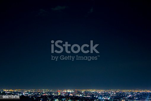 istock Night wide shot of Monterrey city, in Nuevo Leon, Mexico. 959713416