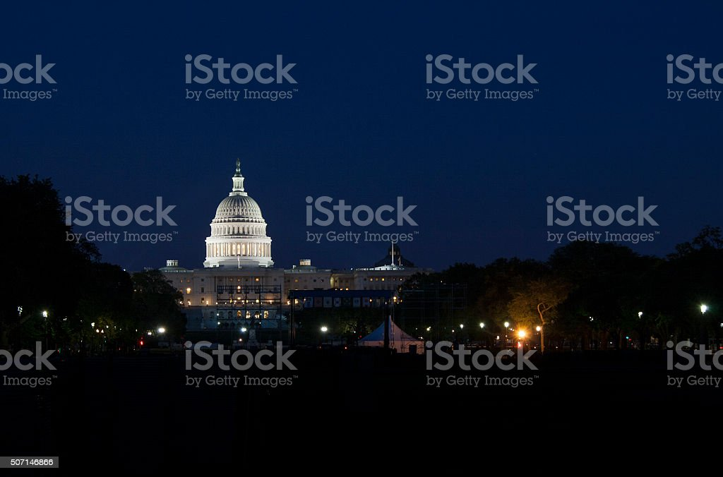 Night wiew of the US Capitol in Washington D.C stock photo