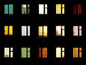 istock Night windows - block of flats background 147530870