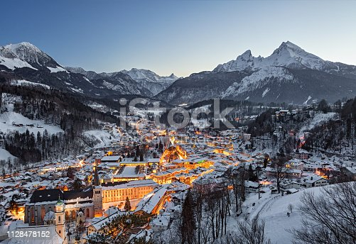 Night view of Berchtesgaden national park in winter